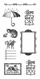 Graphic 45 Raining Cats & Dogs Stamp Set #3 Family Pets Four legged Friends
