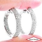 Estate 2.75ct Diamond 14K Gold Beautiful Inside Out Hoop Earrings 15.5 Grams NR