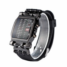 Men's Women Wrist Stainless Steel Sports Date Digital Binary LED Bracelet Watch