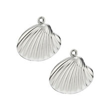 10pcs Silver Tone Stainless Steel Carved Shell Charms DIY Pendents Gift 19mm