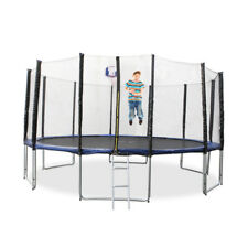 New 14Ft Round Trampoline With Safety Net And Free Ladder Basketball Hoop Set