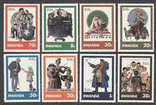 Rwanda 1981 Art/Rockwell/Clown/Christmas/Music/Paintings/People 8v set (n22428)