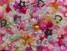 "75pcs x 3D Resin Nail Art/Craft Mix ""Pearls"" Flowers,Hearts,Bows,Star Flat Back"