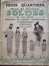 """CATALOGUE MODE """" AUX TROIS QUARTIER """" SOLDES D'HIVER 1923"""