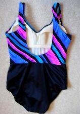 SUNBIRD Black w/Blue/Pink/Teal/Black Print Slimming Swimsuit - 36 (10) - NEW