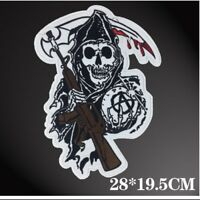 Embroidered Iron on/Sew on Patches- Sons of Anarchy Grim Reaper Motorcycle Biker