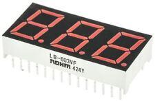 ROHM LB-603VF 3 Digit 7-Segment LED Display, CA Red 16 mcd RH DP 14.2mm