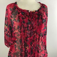 Express Women's 3/4 Sleeve Top Blouse Size M Red Black Multi-color Front Tie
