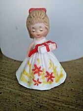 Minature Southern Bell Figurine Girl With wrapped present Orange bow in hair