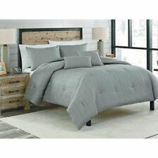 Dobby Stripe Cotton 5-Piece Comforter Set - Gray King - Shams Decorative Pillows