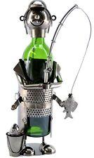 NEW! Fisherman Fishing Fun Silver Wine Bottle Holder Metal Gift Birthday zb230