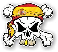 Crâne & Crossbones + Head Bandana & Espagne drapeau espagnol vinyle Autocollant Voiture Décalque