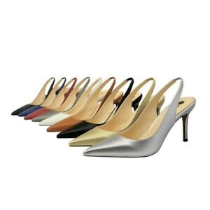 Ladies Party Shoes High Heels Pointed Toes Pumps Slingbacks Sandals US Size S666