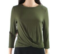 Moa Moa Women's Knit Top Olive Green Size XS Solid Knot-Front Ribbed $32 #968