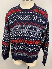 VTG Apsen Ski sweater L Large nordic fair isle geometic navy blue red white
