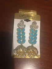 Ethnic One Gram Gold Plated Austrian Diamond Turquoise Designer Earring for Wome