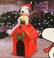 Peanuts Snoopy & Woodstock Doghouse Christmas Inflatable 4 FT Airblown Blow Up