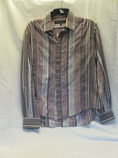 """French Connection M shirt, 15.5""""collar, grey/brown/pink/white stripe"""
