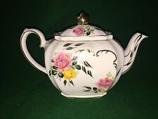 More details for vintage sadler cube teapot ~ white with pink & yellow roses & gold colour trim