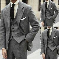 Gray Herringbone Men's Suits Wedding Groom Dinner Formal 3 Piece Tweed Tuxedos