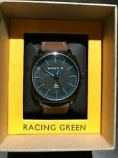 Racing Green Wrist Watch with Black Face, Brown Strap, Blue Hands & Markings