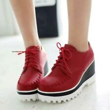 Hot Women Platform Creeper Shoes Lace Up Patent Leather Wedge High Heels Sneaker