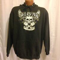 No Fear Mens Gearhead For Life Black and White Skull Pullover Sweatshirt Medium