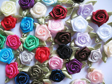 100 Satin Ribbon Rose w/ Leaf Appliques/doll-Mix Rf040