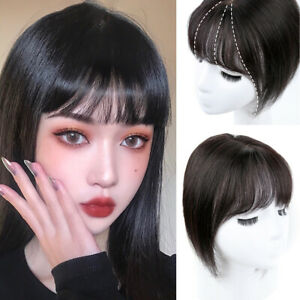 100% Human Hair Topper Toupee Clip in Top Hairpiece with Bangs Fringe for Women