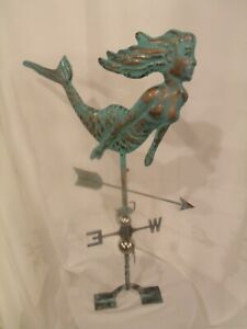 Large Handcrafted 3D 3- Dimensional Mermaid Weathervane copper patina Finish