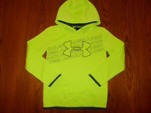 UNDER ARMOUR BRIGHT GREEN HOODED SWEATSHIRT BOYS 7 EXCELLENT CONDITION