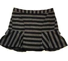 Worthington Flare Skirt 18 Black Gray Striped Wool Blend Exposed Zipper Work