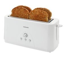 Cookworks Long Slot 4 Slice Toaster Browning Function And Cook Frozen White NEW