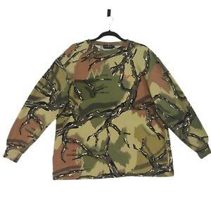 Predator Camo Hunting Camouflaged One Pocket Long Sleeve Polo Shirt Size L