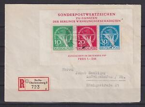 Berlin Block 1 Währungsgeschädigte gestempelt geprüft auf Brief (et303)