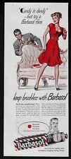 BARBASOL 98 shaving cream woman red dress men's grooming 1947 Vintage Print Ad