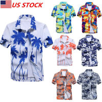 US Men's Hawaiian Shirt Summer Floral Printed Beach Short Sleeve Tops Blouse New