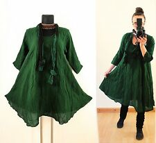 Grün Gr 48 50 52 Lagenlook Long Tunika KLEID Hippie Mittelalter Gothic Vintage