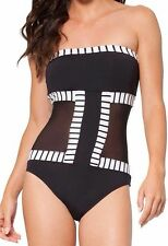 Anne Cole One piece Sz 18W Black White Multi Swimsuit Mesh Cut Outs 15PO059