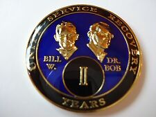 AA Bill&Bob Blue 2 Year Coin Tri-Plate Alcoholics Anonymous Medallion +Display