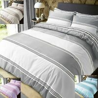 Banded Stripe Duvet Cover With Pillowcases Quilt Cover Bedding Set