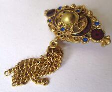 broche couleur or émail brun perle cristaux bleus pampilles bijou vintage 523