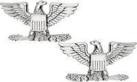 Silver Polished Colonel United States Army Rank Insignia Pin Set US Made