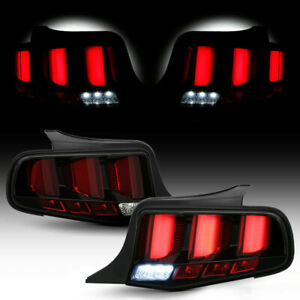 Fit 10-14 Ford Mustang [Red LED Tube] Sequential Bar Tail Light Brake Lamp Black