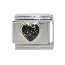 Black sparkly heart Italian charm - fits 9mm classic Italian charm bracelets