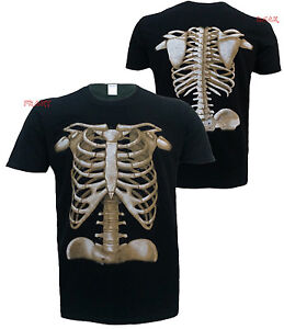 Skeleton Front and Back Screen Print T Shirt/Skull/Halloween/Goth/Horror/Top/Tee