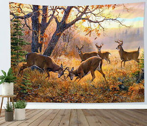 Autumn Forest Animal Tapestry Elk Fighting Wall Hanging For Living Room Bedroom