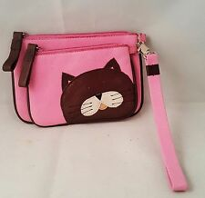 Adorable Cat Pebbled Leather Pink and Brown Wristlet & Coin Purse