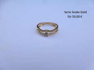 Ring Snake Gold 925er Sterlingsilber vergoldet mit 12 Zirkonia steinen gearbeite