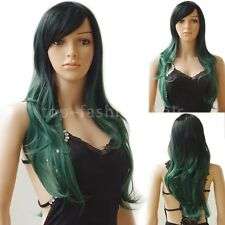 Pastel Ombre Hair Wigs Cosplay Long Curly Straight Wig Anime Costume Pink Red hh